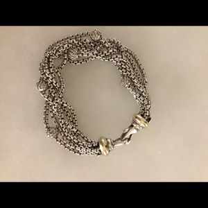 David Yurman Two Tone Diamond Multistrand Bracelet